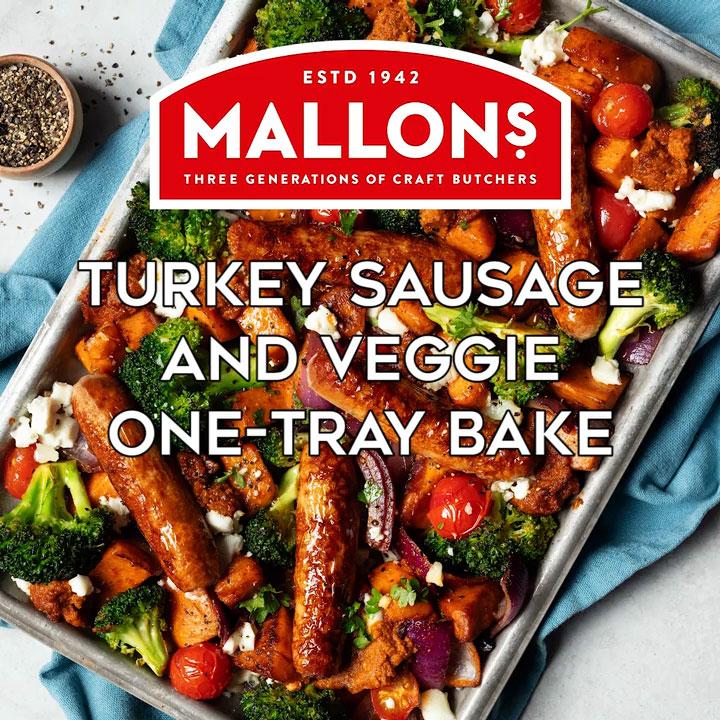 mallons one tray-veg turkey sausage poster
